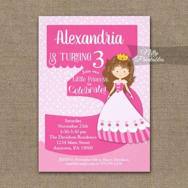 Princess 3rd Birthday Invitations Brunette Girl PRINTED
