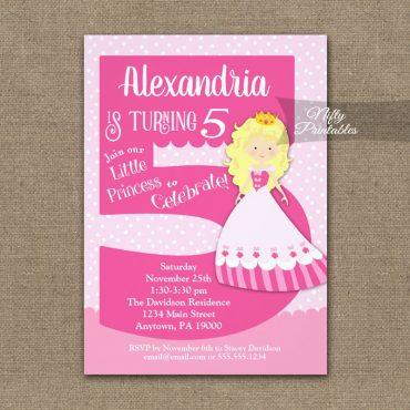 Princess 5th Birthday Invitations Blonde Girl PRINTED