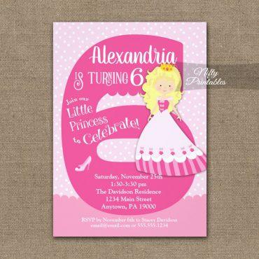 Princess 6th Birthday Invitations Blonde Girl PRINTED