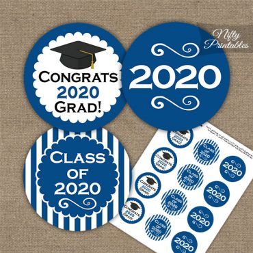 Graduation Cupcake Toppers - Royal Blue 2020