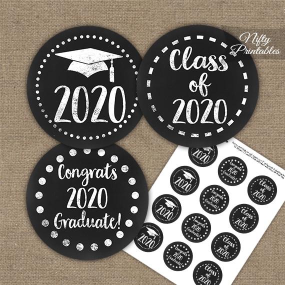 Graduation Cupcake Toppers - Black Chalkboard 2020