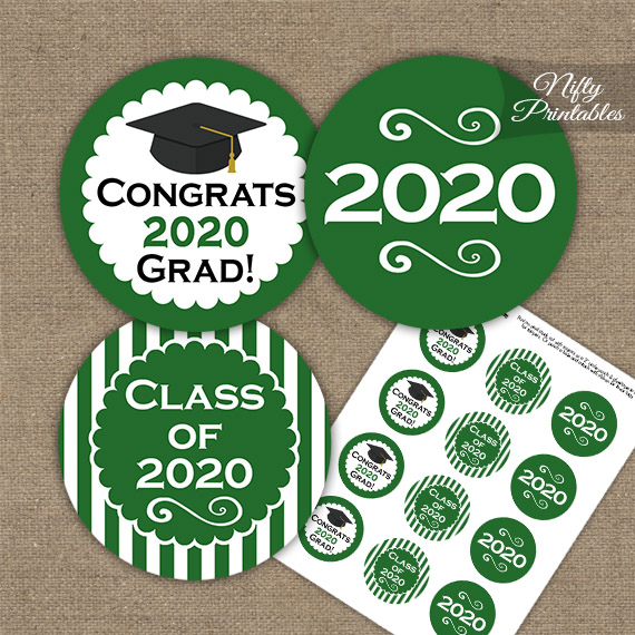 Graduation Cupcake Toppers - Green 2020