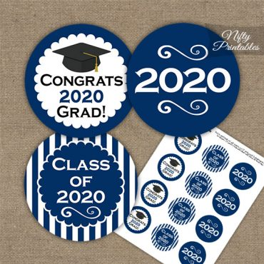 Graduation Cupcake Toppers - Navy Blue 2020