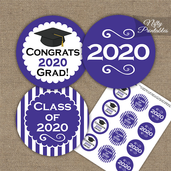 Graduation Cupcake Toppers - Purple 2020