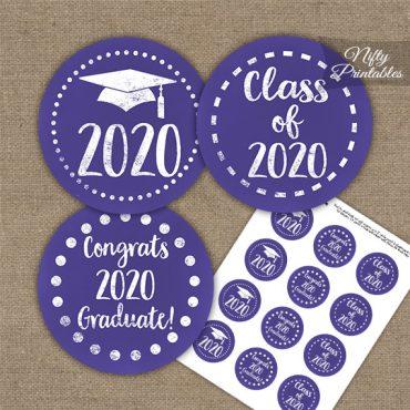 Graduation Cupcake Toppers - Purple Chalkboard 2020