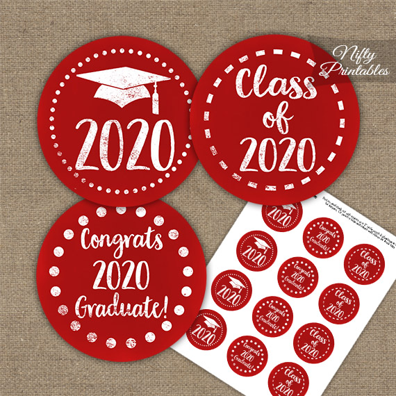 Graduation Cupcake Toppers - Red Chalkboard 2020
