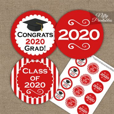 Graduation Cupcake Toppers - Red 2020