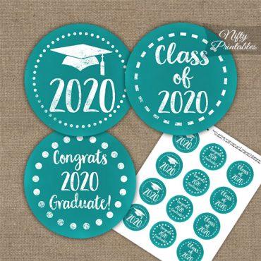 Graduation Cupcake Toppers - Turquoise Aqua 2020