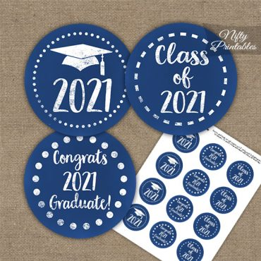 Graduation Cupcake Toppers - Blue Chalkboard 2021