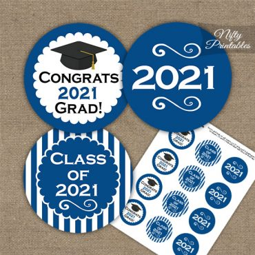Graduation Cupcake Toppers - Royal Blue 2021