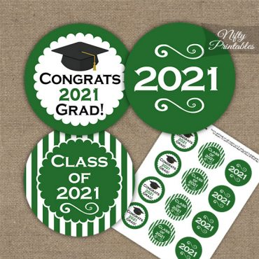 Graduation Cupcake Toppers - Green 2021