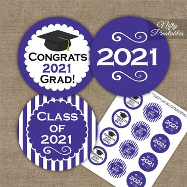 Graduation Cupcake Toppers - Purple 2021