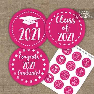 Graduation Cupcake Toppers - Pink Chalkboard 2021