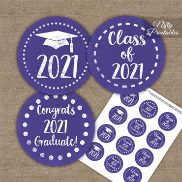 Graduation Cupcake Toppers - Purple Chalkboard 2021