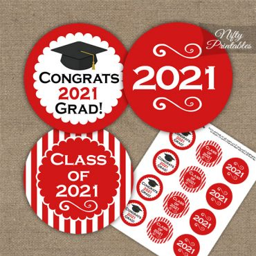 Graduation Cupcake Toppers - Red 2021