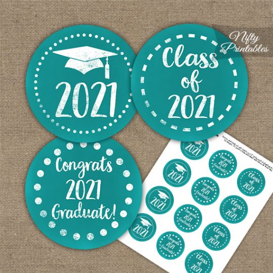 Graduation Cupcake Toppers - Turquoise Aqua 2021