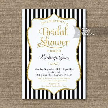 Black Gold Bridal Shower Invitation Elegant Stripe PRINTED