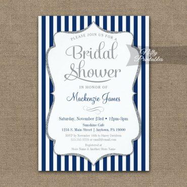 Navy Blue Silver Bridal Shower Invitation Elegant Stripe PRINTED