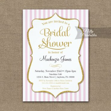 Pink Gold Bridal Shower Invitations Elegant Stripe PRINTED
