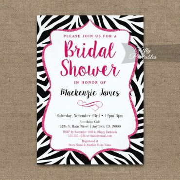 Zebra Bridal Shower Invitation Black White Pink PRINTED