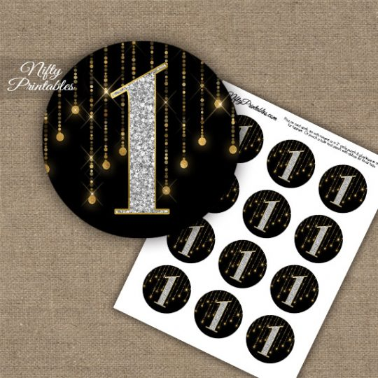 1st Birthday Anniversary Cupcake Toppers - Diamonds Black Gold