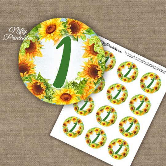 1st Birthday Anniversary Cupcake Toppers - Sunflowers