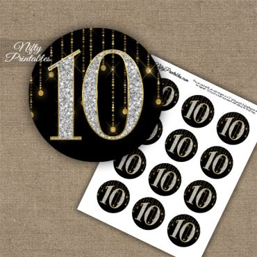10th Birthday Anniversary Cupcake Toppers - Diamonds Black Gold