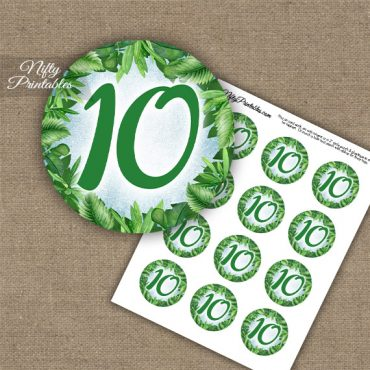 10th Birthday Anniversary Cupcake Toppers - Greenery