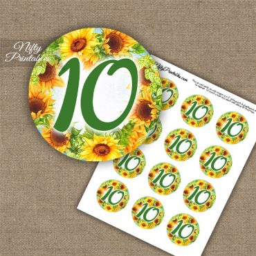 10th Birthday Anniversary Cupcake Toppers - Sunflowers