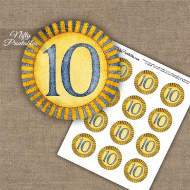10th Birthday Anniversary Cupcake Toppers - Sunshine Illustrated