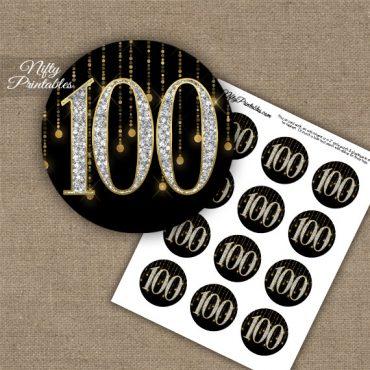100th Birthday Cupcake Toppers - Diamonds Black Gold