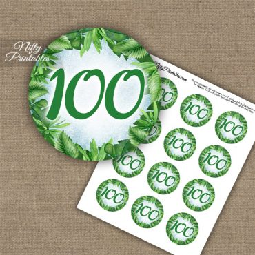 100th Birthday Cupcake Toppers - Greenery
