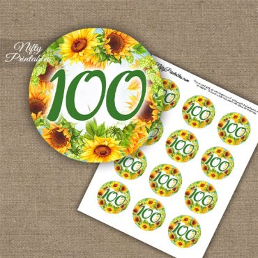 100th Birthday Cupcake Toppers - Sunflowers