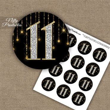 11th Birthday Anniversary Cupcake Toppers - Diamonds Black Gold
