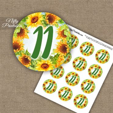 11th Birthday Anniversary Cupcake Toppers - Sunflowers