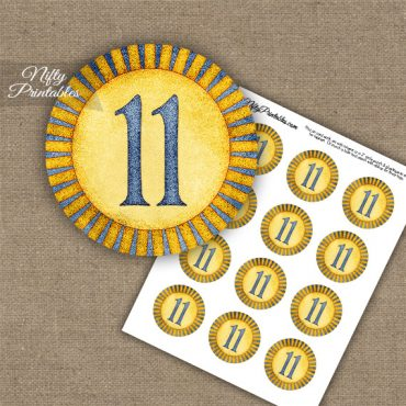 11th Birthday Anniversary Cupcake Toppers - Sunshine Illustrated