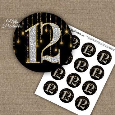 12th Birthday Anniversary Cupcake Toppers - Diamonds Black Gold