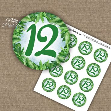 12th Birthday Anniversary Cupcake Toppers - Greenery