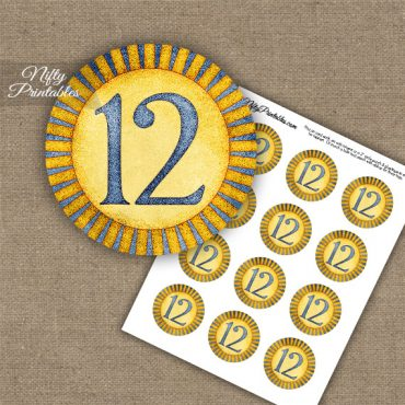 12th Birthday Anniversary Cupcake Toppers - Sunshine Illustrated