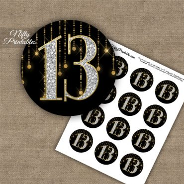 13th Birthday Anniversary Cupcake Toppers - Diamonds Black Gold