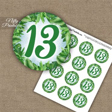 13th Birthday Anniversary Cupcake Toppers - Greenery