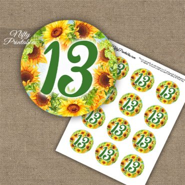 13th Birthday Anniversary Cupcake Toppers - Sunflowers