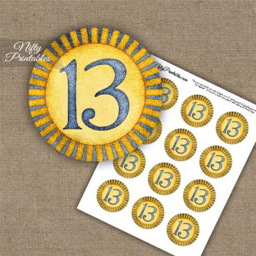 13th Birthday Anniversary Cupcake Toppers - Sunshine Illustrated