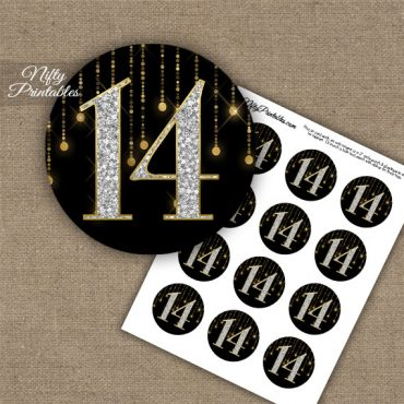 14th Birthday Anniversary Cupcake Toppers - Diamonds Black Gold