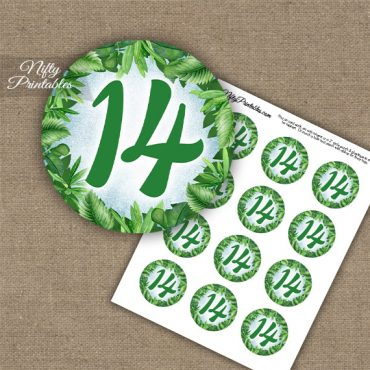 14th Birthday Anniversary Cupcake Toppers - Greenery
