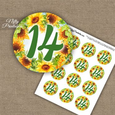 14th Birthday Anniversary Cupcake Toppers - Sunflowers