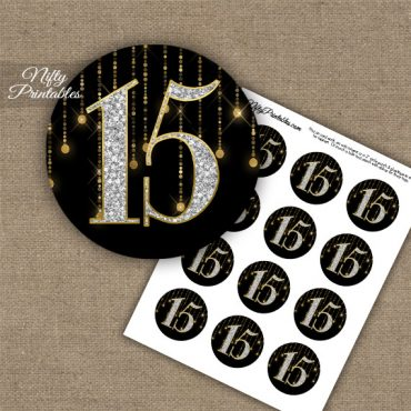 15th Birthday Anniversary Cupcake Toppers - Diamonds Black Gold