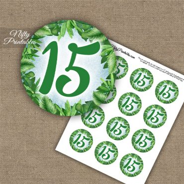 15th Birthday Anniversary Cupcake Toppers - Greenery