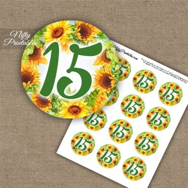 15th Birthday Anniversary Cupcake Toppers - Sunflowers