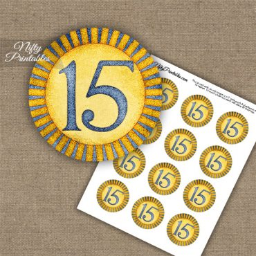 15th Birthday Anniversary Cupcake Toppers - Sunshine Illustrated